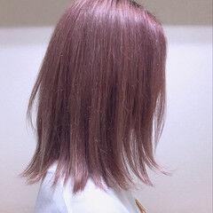 ストリート ボブ ピンク パステルカラー ヘアスタイルや髪型の写真・画像