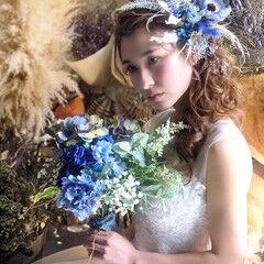 ガーリー ドライフラワー サイドアップ ゆるふわセット ヘアスタイルや髪型の写真・画像
