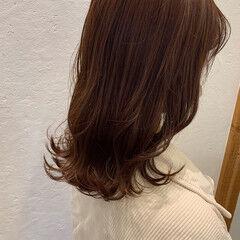 ピンクバイオレット セミロング アプリコットオレンジ ガーリー ヘアスタイルや髪型の写真・画像