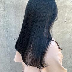 韓国ヘア ブルーブラック ナチュラル 透明感カラー ヘアスタイルや髪型の写真・画像