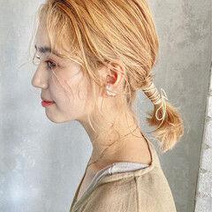 ナチュラル 編みおろしヘア ヘアセット 紐アレンジ ヘアスタイルや髪型の写真・画像