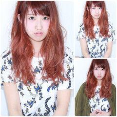 オレンジ ゆるふわ ロング ナチュラル ヘアスタイルや髪型の写真・画像