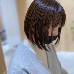 ミニボブ ナチュラル モテボブ 透明感カラー ヘアスタイルや髪型の写真・画像