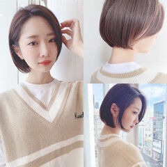 アンニュイほつれヘア 大人かわいい ショートボブ ナチュラル ヘアスタイルや髪型の写真・画像