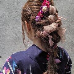 浴衣ヘア ガーリー セミロング ヘアアレンジ ヘアスタイルや髪型の写真・画像