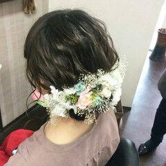 セミロング 成人式 ナチュラル 結婚式ヘアアレンジ ヘアスタイルや髪型の写真・画像