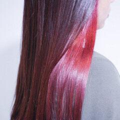 ベリーピンク パープル ロング ラベンダー ヘアスタイルや髪型の写真・画像