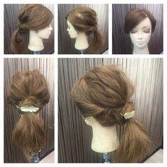 セミロング ヘアアクセ ポニーテール こなれ感 ヘアスタイルや髪型の写真・画像