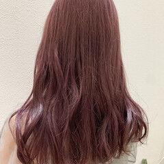 ロング ガーリー ピンクラベンダー ヘアスタイルや髪型の写真・画像