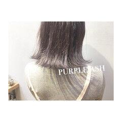 パープル グレージュ カッパー アッシュ ヘアスタイルや髪型の写真・画像