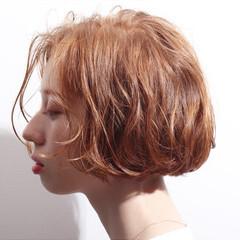 毛先パーマ ボブ 無造作ミックス ミニボブ ヘアスタイルや髪型の写真・画像