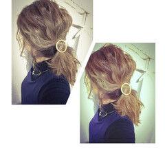 ゆるふわ ウェーブ ミディアム ローポニーテール ヘアスタイルや髪型の写真・画像