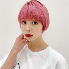 ショート コンパクトショート ピンクブラウン ピンク ヘアスタイルや髪型の写真・画像