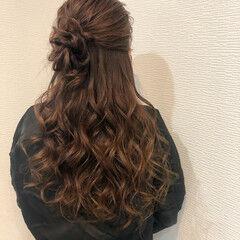 結婚式 フェミニン ヘアアレンジ ロング ヘアスタイルや髪型の写真・画像