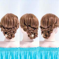 ヘアアレンジ アップスタイル フェミニン くるりんぱ ヘアスタイルや髪型の写真・画像