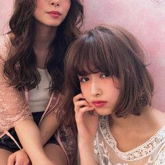 デジタルパーマ ボブヘアー ガーリー シナモンベージュ ヘアスタイルや髪型の写真・画像