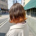 ボブ ナチュラル 裾カラーオレンジ 裾カラー