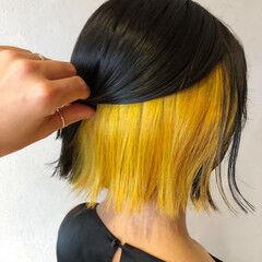 ボブ ストリート インナーカラー イエローアッシュ ヘアスタイルや髪型の写真・画像