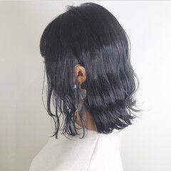 ナチュラル 暗髪 ネイビーブルー ブルージュ ヘアスタイルや髪型の写真・画像