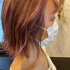 デザインカラー ピンクバイオレット ボブ ラベンダーピンク ヘアスタイルや髪型の写真・画像