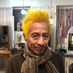 イエロー ショート メンズスタイル ブリーチオンカラー ヘアスタイルや髪型の写真・画像