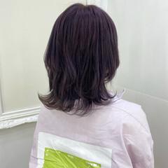 ストリート ブルーラベンダー ラベンダーカラー ウルフカット ヘアスタイルや髪型の写真・画像