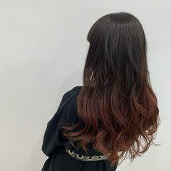 ロング ブリーチ カシスカラー グラデーションカラー ヘアスタイルや髪型の写真・画像
