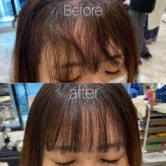縮毛矯正 髪質改善 前髪 ナチュラル ヘアスタイルや髪型の写真・画像