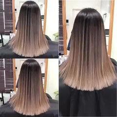 バレイヤージュ グラデーションカラー コントラストハイライト エレガント ヘアスタイルや髪型の写真・画像