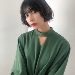 暗髪 ぱっつん ショートボブ 暗髪女子 ヘアスタイルや髪型の写真・画像