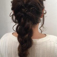 裏編み込み ガーリー ヘアセット 編み込みヘア ヘアスタイルや髪型の写真・画像