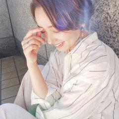 ハイライト 外国人風カラー ハンサムショート かきあげバング ヘアスタイルや髪型の写真・画像