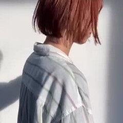 オレンジベージュ ナチュラル アンニュイほつれヘア 切りっぱなしボブ ヘアスタイルや髪型の写真・画像