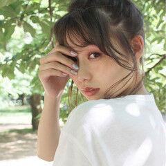 ヘアアレンジ ミディアム フェミニン 夏 ヘアスタイルや髪型の写真・画像