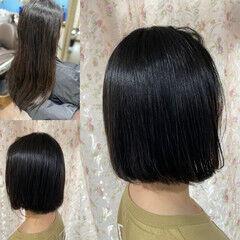 ボブ ゆるふわパーマ 縮毛矯正 デジタルパーマ ヘアスタイルや髪型の写真・画像