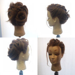結婚式 編み込み セミロング ヘアアレンジ ヘアスタイルや髪型の写真・画像