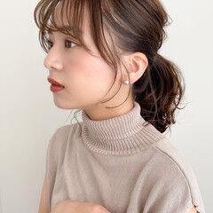 ミディアム 簡単ヘアアレンジ ナチュラル ポニーテール ヘアスタイルや髪型の写真・画像