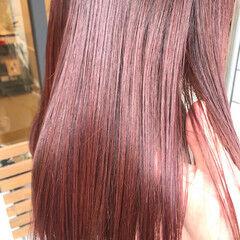 ツヤ髪 ベリーピンク ナチュラル ハイトーンカラー ヘアスタイルや髪型の写真・画像