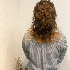 ヘアアレンジ ヘアセット ハーフアップ フェミニン ヘアスタイルや髪型の写真・画像