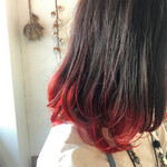 黒髪 グラデーションカラー ミディアムヘアー ミディアム