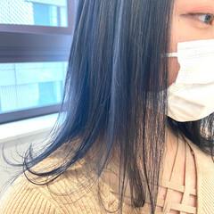 ブルーアッシュ ネイビーブルー ブルー ミディアム ヘアスタイルや髪型の写真・画像