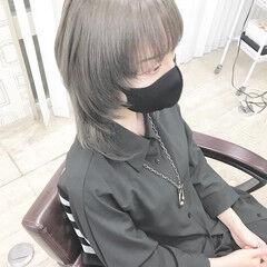 モード ミディアム ブリーチカラー ブリーチオンカラー ヘアスタイルや髪型の写真・画像