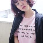 ベリーピンク パーマ ニュアンス 前髪あり