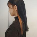 暗髪 ロング 髪質改善トリートメント モード