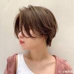 外国人風カラー ショートヘア ベージュカラー ニュアンスパーマ