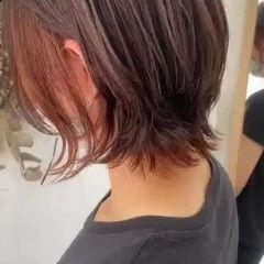 ボブウルフ モード インナーカラーオレンジ ウルフカット ヘアスタイルや髪型の写真・画像