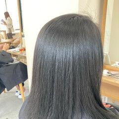 アンニュイほつれヘア 似合わせカット ミディアム ストレート ヘアスタイルや髪型の写真・画像