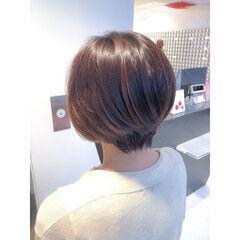 グラデーションボブ ナチュラル ブラウン ショートボブ ヘアスタイルや髪型の写真・画像