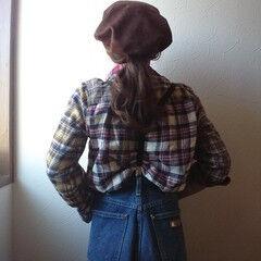 ナチュラル セミロング ベレー帽 ヘアスタイルや髪型の写真・画像
