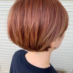 モード ピンクブラウン ショートボブ アプリコットオレンジ ヘアスタイルや髪型の写真・画像